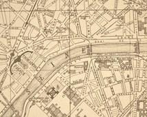 Antique Street Map Paris France 1919 Original