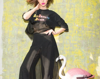 black party culottes. cropped trousers with glitters. 1990s grunge. SIZE 8