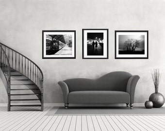 Choose any three black and white photography prints, landscape photography, photography set, set of 3 prints, black and white art