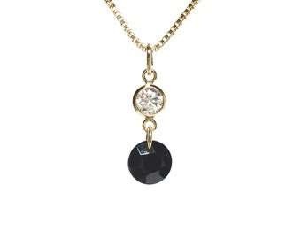 """Onyx and CZ Necklace """"Ray of the way"""" k14goldfilled ,charis,japan,gold,pendant,charm, gemstone"""