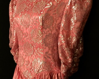 Vintage 80's Pink Satin Gown           VG43