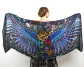 Wings scarf, bohemian bird feathers shawl, Onyx, hand painted, digital print, wrap sarong, perfect Valentine gifts.
