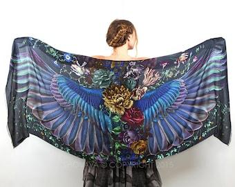 Silk Scarf, Summer Scarf, Long Scarf, Nursing Scarf, Sarong Wrap Scarf, Wings Shawl, Oversized Scarf, Peony Art Scarf, Wings on Wraps,