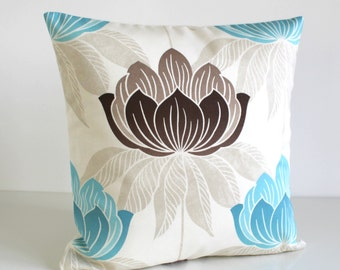 Blue Pillow Cover, Cushion Cover, Decorative Pillows, Pillow Sham, Cotton Pillow Cover, Pillowcase, Accent Pillow - Lotus Teal