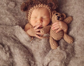 Newborn Bear Hat and Teddy Bear Set - Newborn Photo Prop, Bear Bonnet, Crochet Teddy Bear