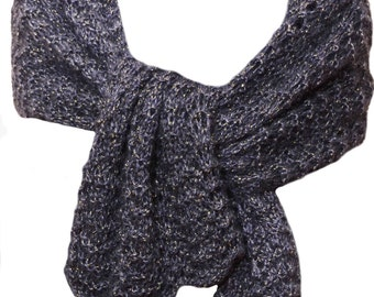 Hand Knit Scarf or Wrap - Black Gold Lace Silk Mohair