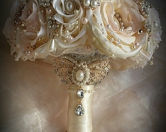 VINTAGE BROOCH BOUQUET Ivory And Gold Brooch Bouquet Pink