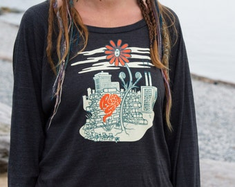 The Free Spirit Pullover with Flower Canadian Made Protest Clothing Rebel Different Fashion Funny Shirt American Apparel Sizes( S M L)