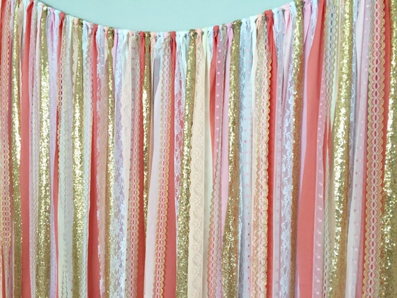 Items Similar To Coral Pink Gold Sparkle Sequin Fabric Backdrop With Lace Wedding Garland