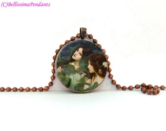 Hylas and the Nymphs, John William Waterhouse, 1 in. 25.4 mm necklace or keychain