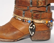 Beaded Boot Braclet with bone inlay pendant, glass,ceramic,wood, metal and wampum beads, metal flower and Bell