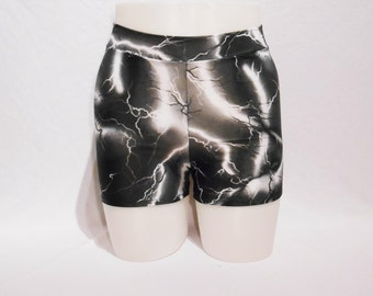 Booty Shorts - Lightning Print- Roller Derby - Mid Waist rise - Plus Size Available