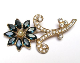 VINTAGE RHINESTONE Pin BROOCH Montana Blue 1940s Retro Flower Restored Pot Metal Gold Jewelry