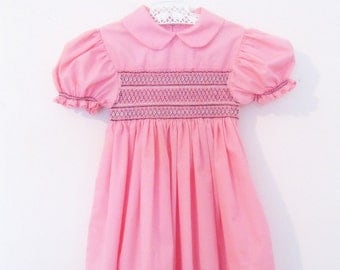Vintage Baby Dress on Sale, Smocked, Pink Childs Dress, Hand Made, by mailordervintage on etsy