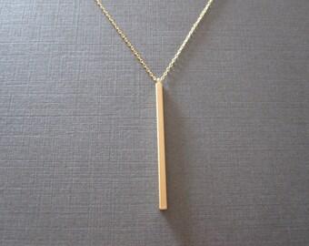 Gold Skinny Vertical Bar Necklace