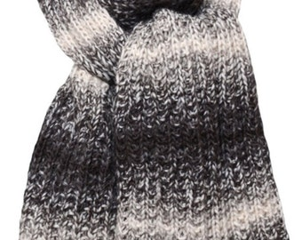 Hand Knit Scarf - Black, Grey & White Tweed Stripes Alpaca Trail Ridge Rib