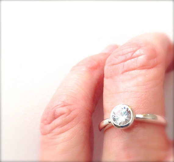 White Sapphire Sterling Silver Ready to Ship