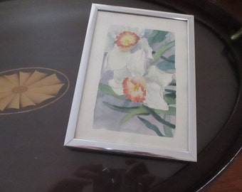 Original Watercolor Jonquils Daffodils Small Paintings YourFineHouse Signed Art Framed Watercolors Spring Flowers
