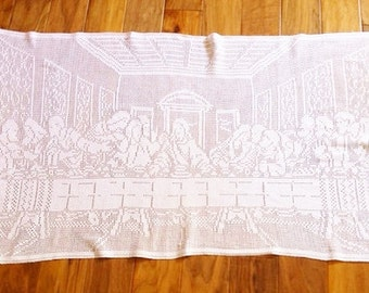 Vintage Religious Heirloom White Crochet Thread Last Supper Table Runner, Shabby Chic, Olives and Doves