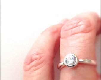 White Sapphire Ring Sterling Silver