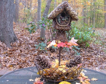 Birdhouse, Tree of Life, pine cone wrapped, gift, handmade birdhouse, functional birdhouse, patio porch decor, garden yard art, ooak
