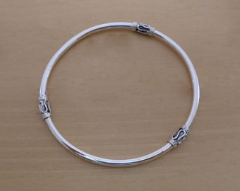 925 Sterling Silver Polished Bali, Balinese BANGLE Bracelet 65 mm & 3 mm Thick