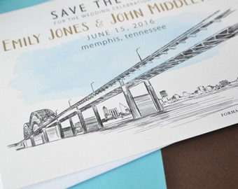 Memphis, Tennessee Skyline Watercolor with Bridge Save the Date Cards (set of 25 cards)