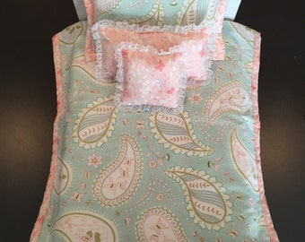"""Doll bedding for American Girl or 18"""" doll, 4 pieces"""