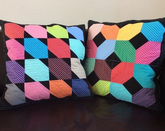 Pair of quilted cushions (Colour Pop)