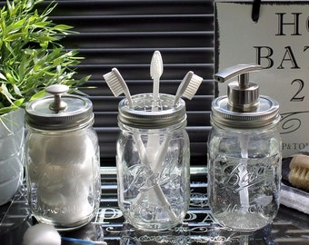 vintage style ball mason bathroom accessory jar set in clear glass with modern satin nickel dispenser