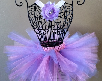 Birthday Tutu Set, Pink and Purple Tutu, Baby Tutu, Pink Flower Headband, Infant Tutu, Toddler Tutu, Newborn Tutu, Headband Set