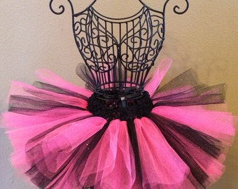 Hot Pink and Black Tutu, Party Tutu, Pink Tutu, Black Tutu, Glitter, Baby Tutu, New Years Tutu, Newborn Tutu, Infant Tutu, Toddler Tutu