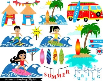 41 PNG Files Summer Surfing ClipArt Digital Clip Art Graphics  (004)