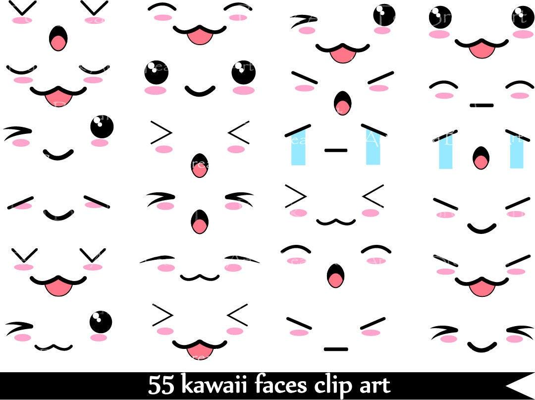 55 PNG Files Kawaii Faces SET 1 Digital Clip Art by ...