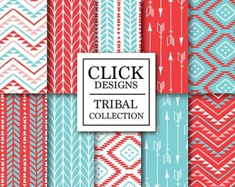 """Tribal Digital Paper: """"TRIBAL RED TURQUOISE"""" tribal scrapbook papers with arrows, aztec patterns in red & turquoise, for invites, carts"""