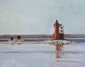 Round Island Light - original oil painting on canvas