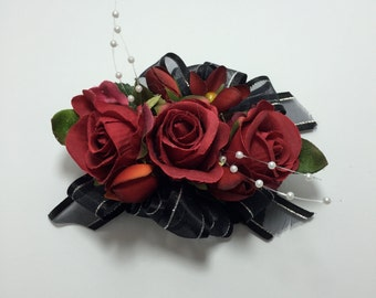 Mini Red And Black Rose Trio Corsage