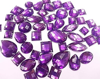 CraftbuddyUS 80  Purple  Faceted Acrylic Sew On, Stick on Diamante Crystal Rhinestone Gems