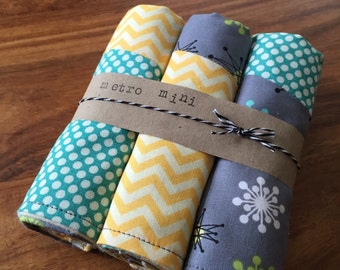 Patchwork retro burp cloths - set of 3 - cotton with flannel backing