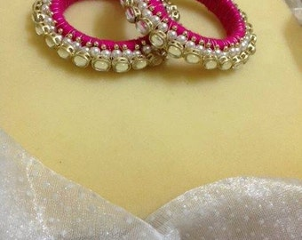 Pink Royal Kundan Bangles