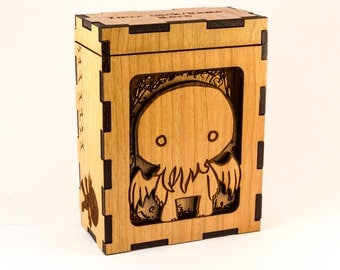 Cthulhu Chibi - H. P. Lovecraft - Magic the Gathering Deck Box or Dice Box - MTG - Personalized Trading Card Game Box Engraved Cherry Wood