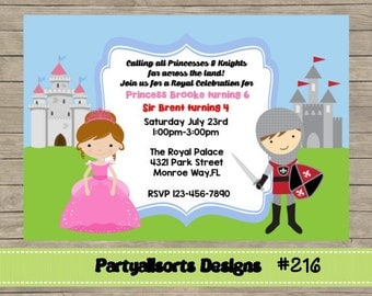 214 DIY -Princess and Knight  Party Invitations Cards.