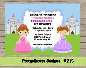 215 DIY -Princesses  Party Invitations Cards.