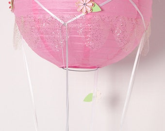 Beautiful pink or white handmade paper lantern hot air balloon