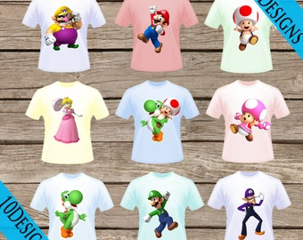 10 Super Mario Bros. T-Shirt Transfers! Digital Download! Iron On Printable T-shirts!