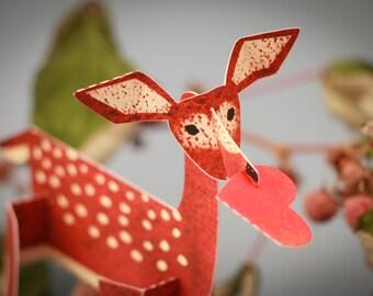 Charming Deer, 3D Paper Animal Greeting Card/Sculpture
