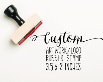 CUSTOM 3.5 x 2 inch Stamp, Logo Stamp, Custom Artwork Stamp, Custom Stamp Logo, Company Stamp, Business Stamp, Business Card Stamp
