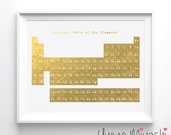 Periodic table gold etsy periodic table i gold foil print gold print custom print in gold illustration urtaz Gallery