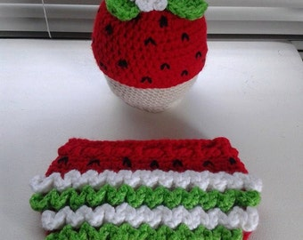 Crochet Strawberry Hat and Diaper Cover Set