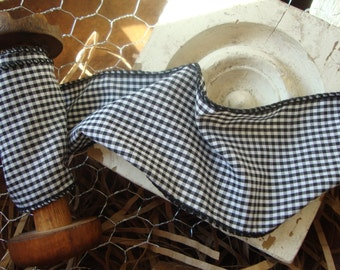 Black and White Gingham Check Fabric Ribbon